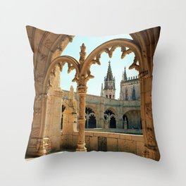 MOSTEIRO DOS JERONIMOS, Lisbon - Portugal.  Analog 6x6 Kodak Ektar 100 (RR158) Throw Pillow