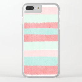 Painterly Stripes abstract trendy colors gender neutral seaside coral tropical minimal Clear iPhone Case