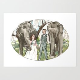 Elephant Bridesmaids Art Print