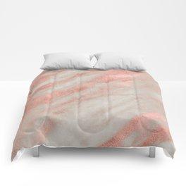 Marble Rose Gold White Marble Foil Shimmer Comforters