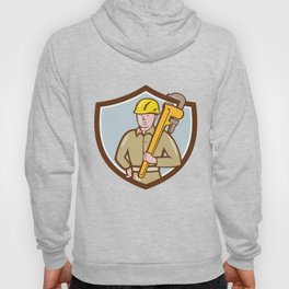 Plumber Holding Wrench Crest Cartoon Hoody