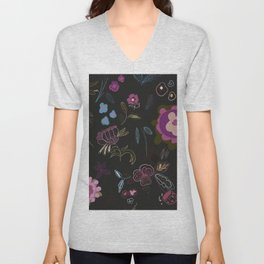 Black background with abstract flowers. Surreal floral pattern Unisex V-Neck