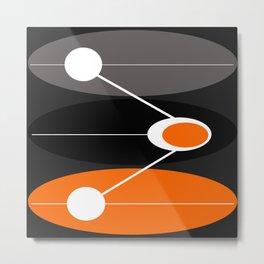 Orange, black, and gray Mid Century Modern Print Metal Print