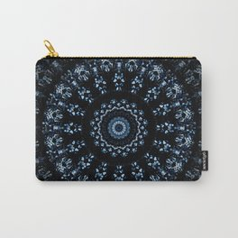 Kaleidoscope crystals in indigo blue on a black background Carry-All Pouch