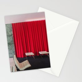 Barcelona's German Pavilion Red Curtain by Mies van der Rohe Stationery Cards