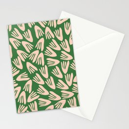 Papier Découpé Modern Abstract Cutout Pattern in Pale Blush Pink and Green Stationery Cards