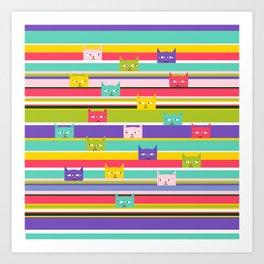 Colorful Peeking Cats on stripes Art Print