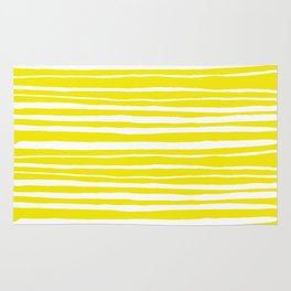Small Sun Yellow Handdrawn horizontal Beach Stripes - Mix and Match with Simplicity of Life Rug