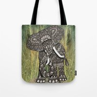 ornate elephant Tote Bags featuring Ornate Elephant by ArtLovePassion