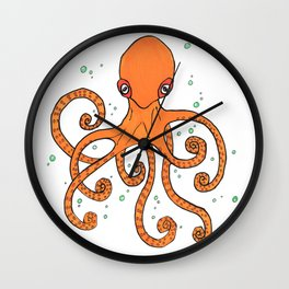 Octopus and Bubbles Wall Clock