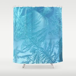 Hoar Frost: Diagonal Feathers Shower Curtain