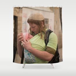 A Soldier & His Baby (Landscape Orientation) Shower Curtain