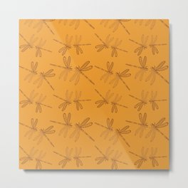 Dragonfly Lovers, Marigold Yellow & Ochre tones_drawing  Metal Print