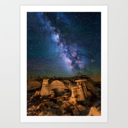 Milky Way Night Sky Over Mountains Art Print