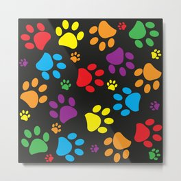 Colorful paw print black background Metal Print