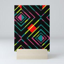 Black diamonds and bright shapes Mini Art Print