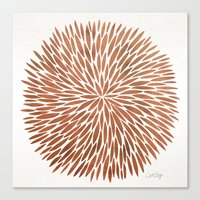 rose gold Canvas Prints featuring Rose Gold Burst by Cat Coquillette