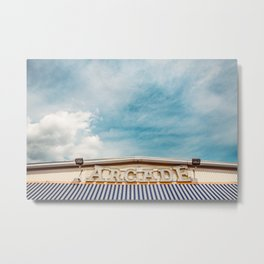 Arcade Sign on Boardwalk Metal Print