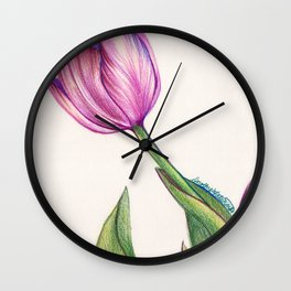 Purple Tulip in Colored Pencil Wall Clock