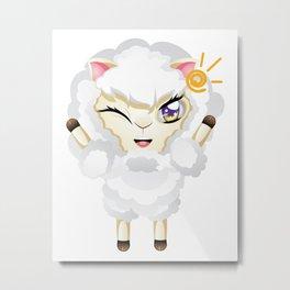 Happy Chibi Sheep Metal Print