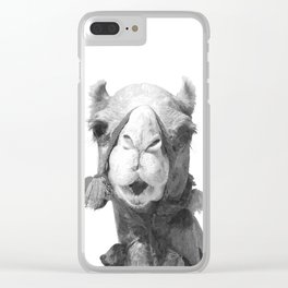 Black and White Camel Portrait Clear iPhone Case
