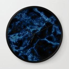 Blue Glitter Marble Texture Wall Clock