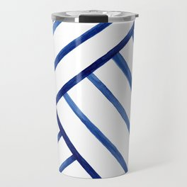 Watercolor lines pattern | Navy blue Travel Mug