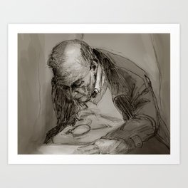 Man with Magnifying Glass Art Print