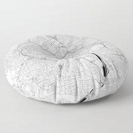 Nashville White Map Floor Pillow
