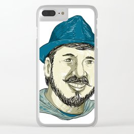Hipster Wearing Fedora Hat Smiling Drawing Clear iPhone Case