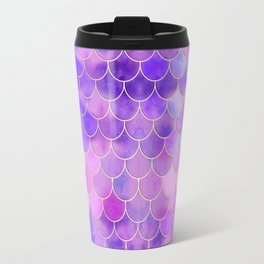 Ultra Violet & Gold Mermaid Scale Pattern Travel Mug