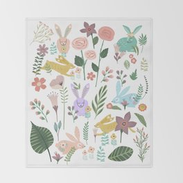 Springtime In The Bunny Garden Of Floral Delights Throw Blanket