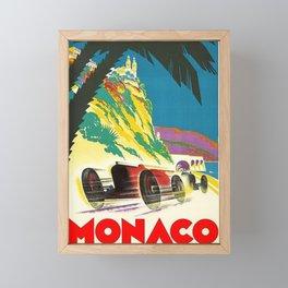 Vintage 1932 Monaco Grand Prix Racing Advertising Poster Framed Mini Art Print