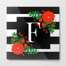 F - Monogram Black and White with Red Flowers Metal Print