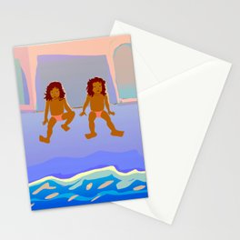 Childhood in front of the Ocean Stationery Cards