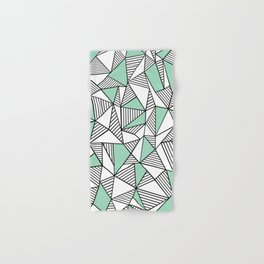 Abstraction Lines with Mint Blocks Hand & Bath Towel