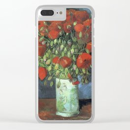 Vincent Van Gogh - Vase with Red Poppies, 1886 Clear iPhone Case