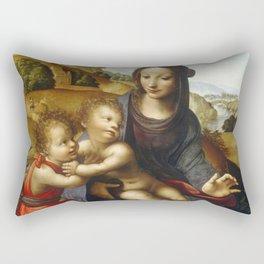 "Fernando Yáñez de la Almedina ""The Virgin with Child and Little (Infant) Saint John [the Baptist]"" Rectangular Pillow"