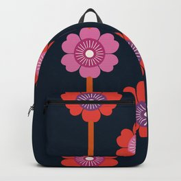 Peace - 70s retro vibes flower power floral flowers pattern art 1970's Backpack