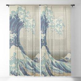 Great Wave Off Kanagawa (Kanagawa oki nami-ura or 神奈川沖浪裏) Sheer Curtain