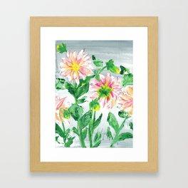 Dahlias on a cloudy day Framed Art Print
