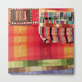 V27 Multi Colored Traditional Moroccan Lovely Textile Texture. Metal Print