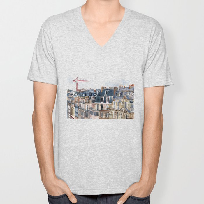 Roofs of Paris Unisex V-Neck