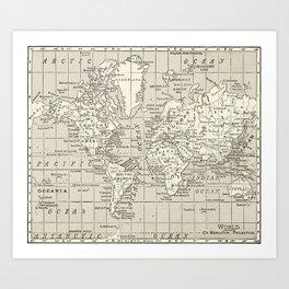 Taupe Wol Map Art Print