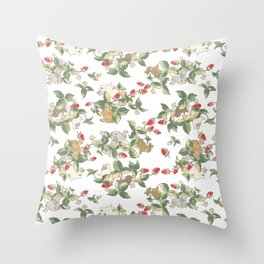 Strawberry fields bunnies Throw Pillow