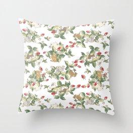 Strawberry fields bunnies Throw Pillow