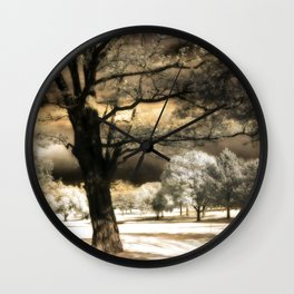 Surreal Gothic Infrared Raven Tree Landscape Nature Wall Clock