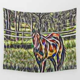 Horse in paddock Wall Tapestry