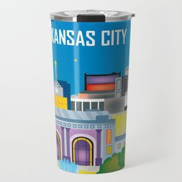 Kansas City, Missouri - Skyline Illustration by Loose Petals Travel Mug
