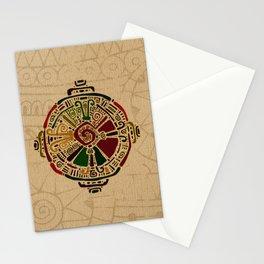 Colorful Hunab Ku Mayan symbol on cotton Stationery Cards